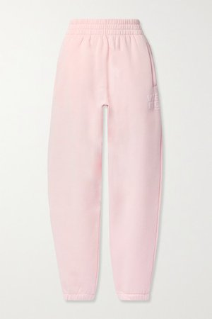 Printed Cotton-blend Jersey Track Pants - Pink