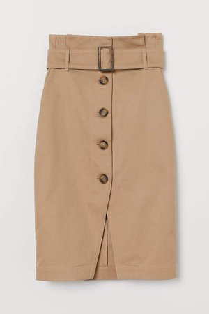 Skirt with Belt - Beige