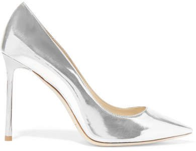 Romy 100 Mirrored-leather Pumps - Silver