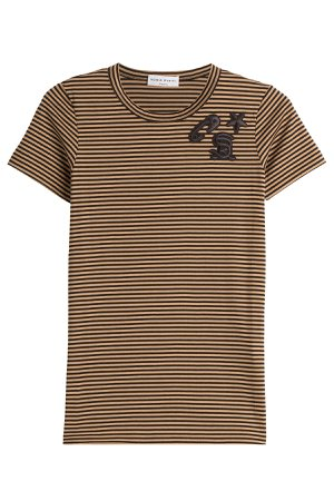 Striped Cotton T-Shirt with Embroidery Gr. L