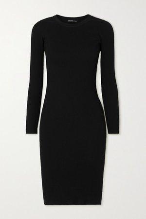 Ribbed Cotton Midi Dress - Black