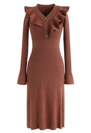 Ruffle Trim V-Neck Ribbed Knit Dress in Caramel - NEW ARRIVALS - Retro, Indie and Unique Fashion