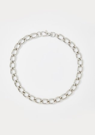 Silver Thick Link Hook Clasp Chain Necklace   Dolls Kill