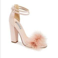 baby pink fur heels