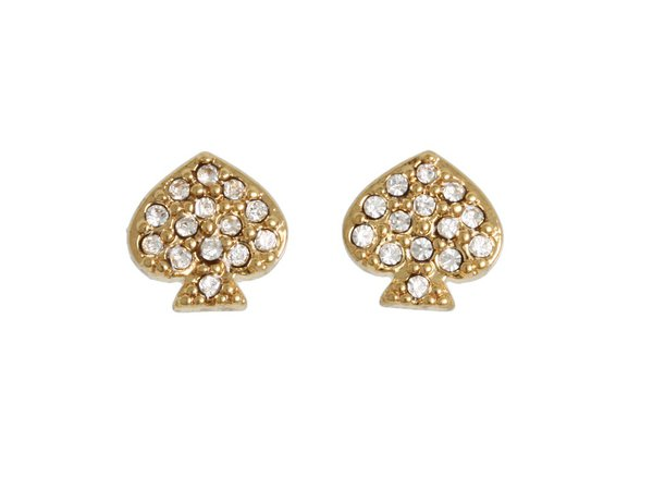 Kate Spade New York - Signature Spade Crystal Studs (Gold/Crystal) Earring