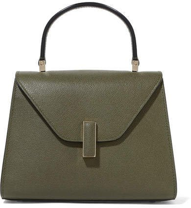 Iside Mini Textured-leather Tote - Army green