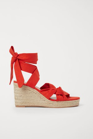 Wedge-heeled Sandals - Red - Ladies | H&M US