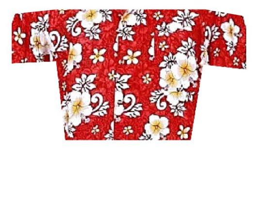 off shoulder red hawaiian crop top