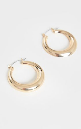 Gold Hoop Circular Earrings | Accessories | PrettyLittleThing