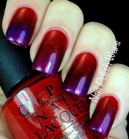 red purple gradient nail polish