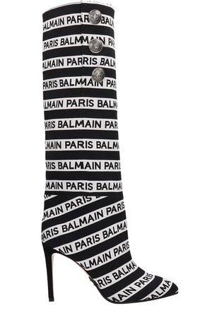 Balmain Black And White Cotton Boots
