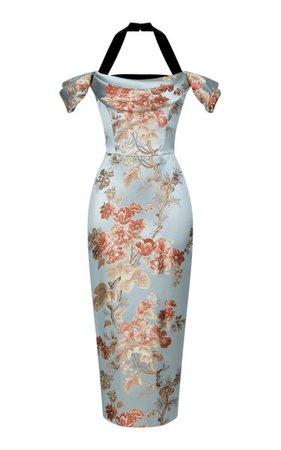 Floral Jacquard And Silk Velvet Draped Midi Dress By Rasario | Moda Operandi
