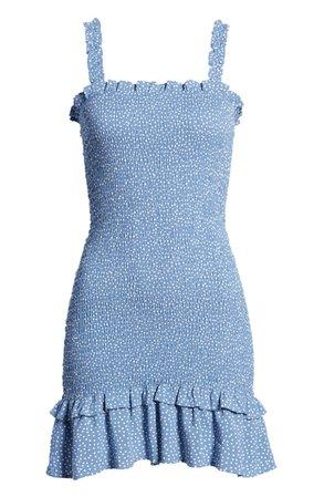 One Clothing Smocked Floral Print Minidress | Nordstrom