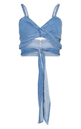 Mid Blue Wash Twist Tie Detail Crop Top | PrettyLittleThing
