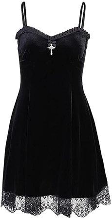 Amazon.com: Black Lolita Dress Dresses for Womens Goth Womens Classic Black Layered lace-up Cotton Lolita Dress Black Lolita Dress Fancy Vintage Dresses alt Dress Goth African Dresses for Women: Clothing
