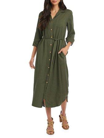Karen Kane Long-Sleeve Midi Shirtdress on SALE | Saks OFF 5TH