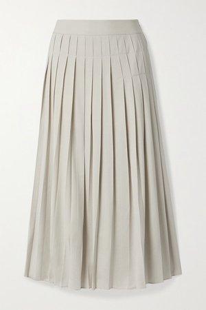 Pleated Crepe Midi Skirt - Cream
