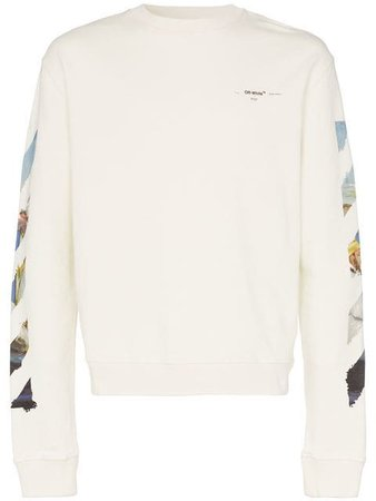 Off-White Rear logo detail cotton sweatshirt $420 - Shop SS19 Online - Fast Delivery, Price