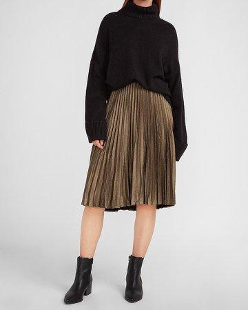 High Waisted Metallic Foil Pleated Midi Skirt