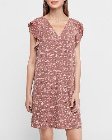Dotted Ruffle Sleeve Shift Dress