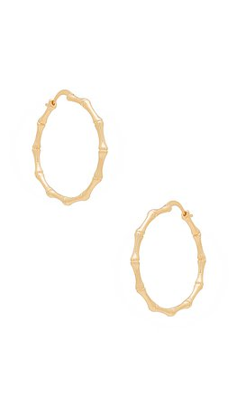 The M Jewelers NY Bamboo Hoop Earrings in Gold   REVOLVE