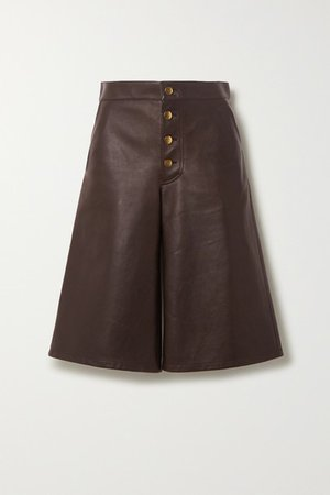 Embellished Leather Shorts - Brown