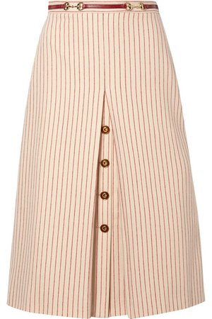 Gucci | Leather-trimmed paneled pinstriped wool midi skirt | NET-A-PORTER.COM