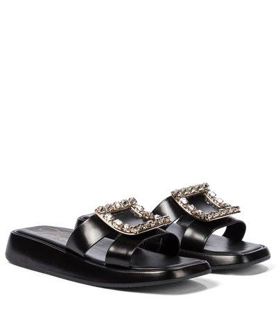Roger Vivier - Bikiviv' embellished leather platform sandals | Mytheresa
