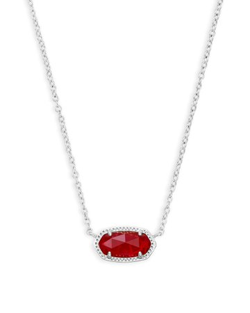 Elisa Silver Pendant Necklace in Ruby Red