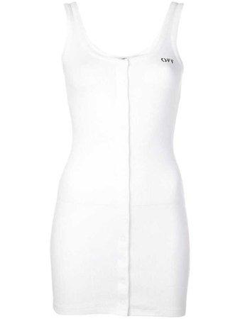 Off-White sleeveless ribbed mini dress