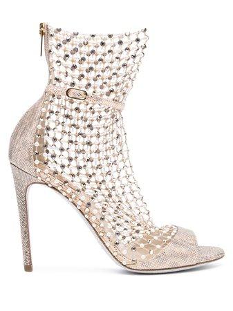 René Caovilla Galaxia crystal-embellished mesh sandals - FARFETCH