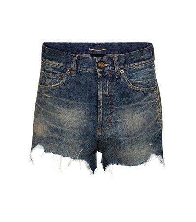 Saint Laurent - High-rise denim shorts | Mytheresa