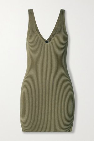 Naeva Ribbed Silk Tank - Dark green