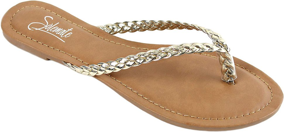 Amazon.com | Solemate Women's Woven Braided Strappy Thong Flip Flop Sandal Flat Beach Sandals (7 M US, Gold) | Flip-Flops