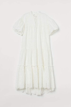 Flared Cotton Dress - White