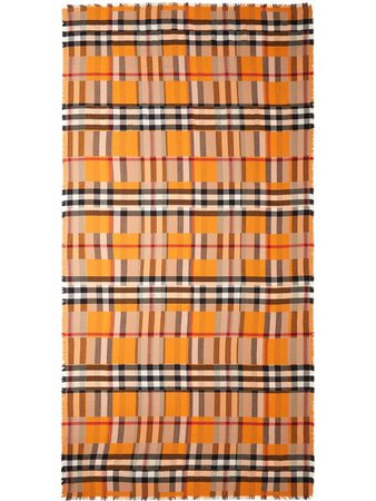 Burberry checker-print cashmere scarf - FARFETCH