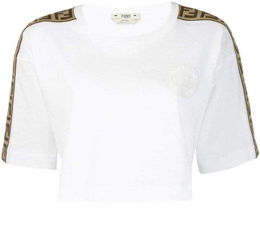logo trim cropped T-shirt