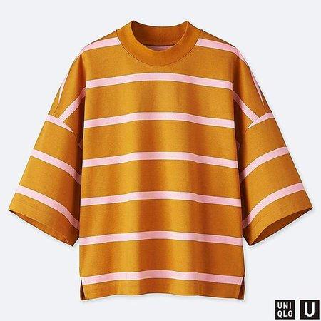 Women's U Oversize Striped Square Half-sleeve T-Shirt