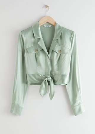 Shiny Structured Self-Tie Blouse - Light Green - Blouses - & Other Stories