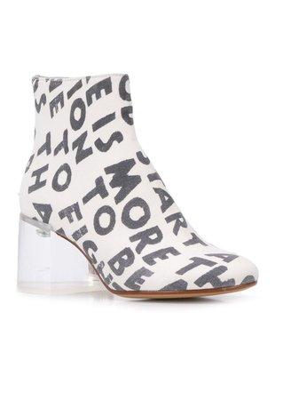 MM6 Maison Margiela Text Print Ankle Boots - Farfetch