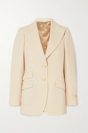 Cream Appliquéd silk and wool-blend blazer | Gucci | NET-A-PORTER