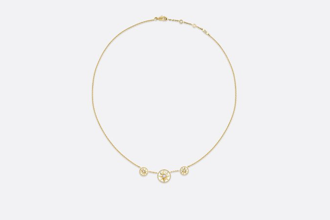 Rose Des Vents Necklace Yellow Gold, Diamonds and Mother-of-Pearl