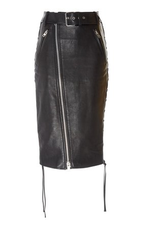 Zip-Detailed Leather Skirt by Balenciaga | Moda Operandi