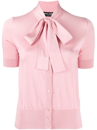Shop pink Dolce & Gabbana pussybow collar blouse with Express Delivery - Farfetch