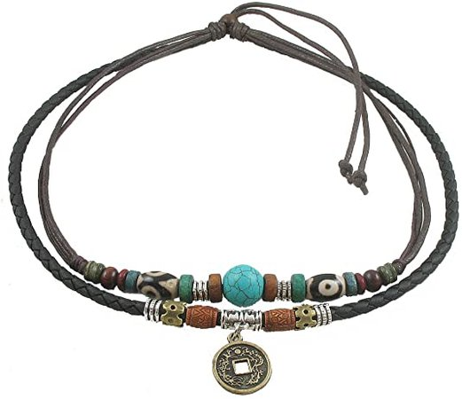 Amazon.com: Ancient Tribe Unisex Adjustable Hemp Genuine Leather Necklace Choker Turquoise Bead (Black)