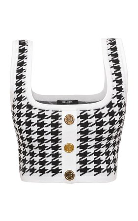 Houndstooth Cropped Knitted Top By Balmain | Moda Operandi