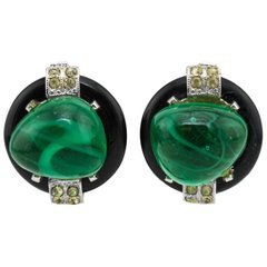 1980s Valentino Long Gold Tone and Sea Foam Clip Back Green Earrings For Sale at 1stdibs