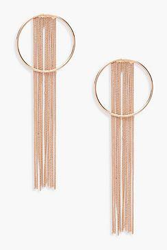 Eliza Chain Fringe Hoop Earrings