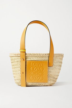 Small Leather-trimmed Woven Raffia Tote - Yellow