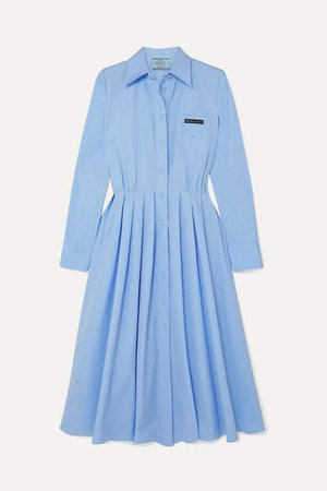 Pleated Cotton Shirt Dress - Blue